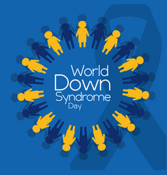 world down syndrome day people emblem poster vector image