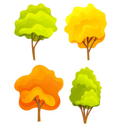Yellow and green bright autumn tree set vector