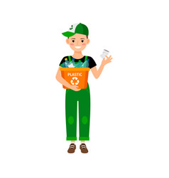 Young kid learning recycle trash vector