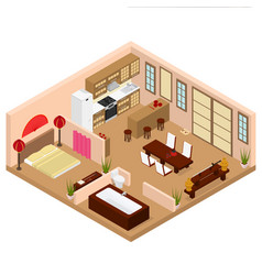 apartment japanese style interior with furniture vector image vector image