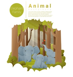 Forest landscape background with elephants vector image vector image