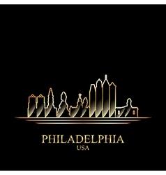 Gold silhouette of Philadelphia on black vector image