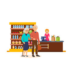 People between ages walk through the mall make a vector