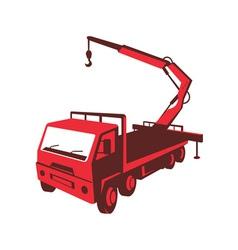truck mounted crane cartage hoist retro vector image vector image