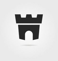 black fortress icon with shadow vector image vector image