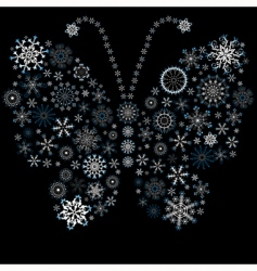 Christmas snowflake butterfly vector image vector image