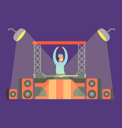 disk jockey playing his music set on stage part vector image