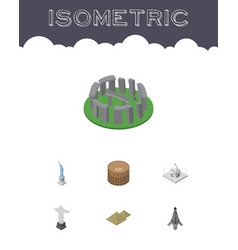 isometric travel set of rio india mosque england vector image vector image