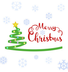 merry christmas text with christmas tree vector image