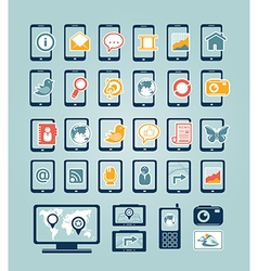 Mobile device icons vector image vector image