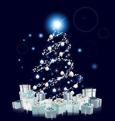 modern style blue christmas tree vector image