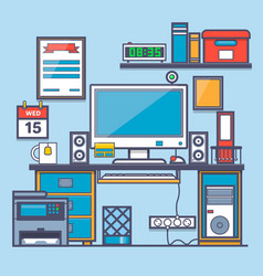 office interioroffice desk and accessorythin vector image vector image