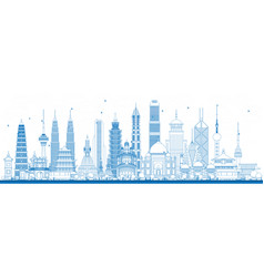 outline famous landmarks in asia vector image