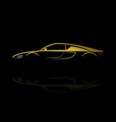 yellow car silhouette with reflection vector image vector image