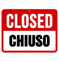 Closed Chiuso sign in white and red vector image vector image