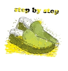Hand drawn moccasin shoes with watercolor effect vector image vector image