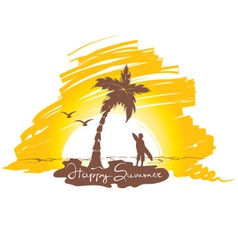 Sunset on the beach with surfing vector image