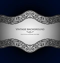 Vintage style blue ornamental background vector image vector image