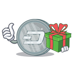 with gift dash coin character cartoon vector image