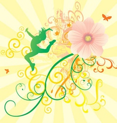 color dance flowers girl vector image vector image