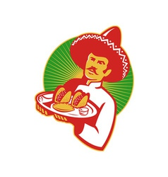 mexican chef serving taco burrito empanada retro vector image