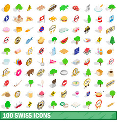 100 swiss icons set isometric 3d style vector