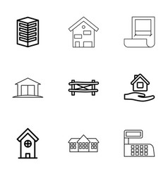 9 architecture icons vector
