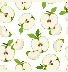 apple slice seamless pattern dropping on white vector image