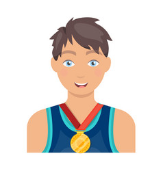 Athlete awarded a gold medal sport and reward vector