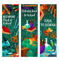 Back to school autumn sale banners vector