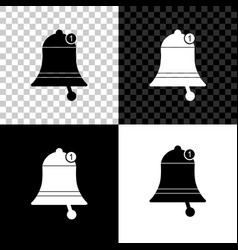 bell icon isolated on black white and transparent vector image