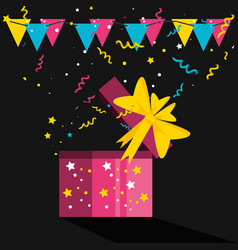 Birthday gift with bow and garlands vector