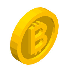 bitcoin golden isometric symbol vector image