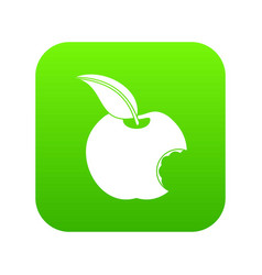 bitten apple icon digital green vector image