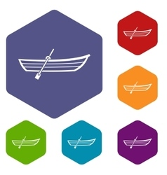 Boat with paddle icons set vector