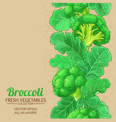 Broccoli plant pattern on color background vector
