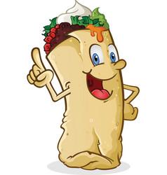 burrito cartoon character pointing vector image