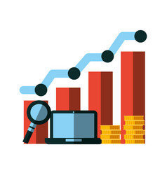 business laptop chart coins analysis vector image