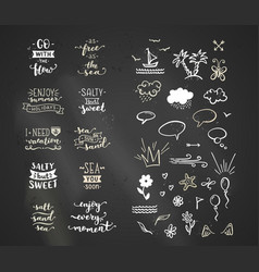 chalk lettering on sea ocean theme vector image