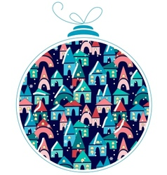 Christmas ball with winter town at night vector image
