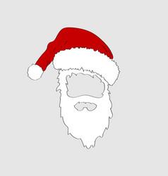 christmas hand drawn santa hat and white beard vector image
