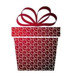 Christmas with gift box on red vector image
