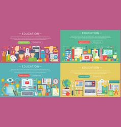 collection flat education design vector image
