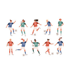 collection funny female football players vector image