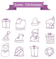 Collection of Christmas icons set object vector