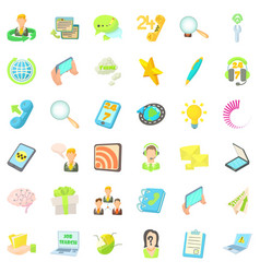 Contact us icons set cartoon style vector