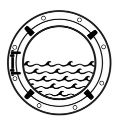 Cruise ship cabin porthole icon vector