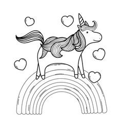 Cute fairytale unicorn with rainbow and hearts vector