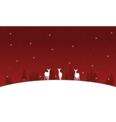 Deer on the hill Christmas winter of silhouettes vector image