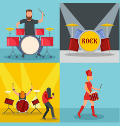 Drummer drum rock musician icons set flat style vector